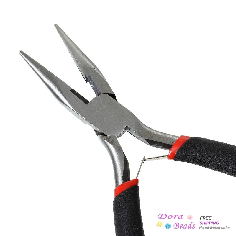 """Stainless Steel Flat Nose Pliers Jewelry Making Hand Tools Black 12.5cm(4 7/8""""),1 Piece (B33702)8seasons(China (Mainland))"""
