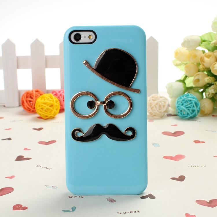 Free Shipping Fashion New DIY glass and hat design Hard Back Case Cover for iPhone 5 5S(China (Mainland))