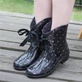 Women rainboots Fashion Spring Rain Boots Slip resistant Lace up Rubber Floral Rain boots size 35