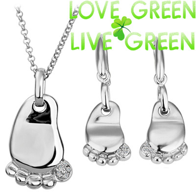 fashion new baby children birthday gifts 18K white yellow gold foot feet pendant Necklace Earrings jewelry sets 80119(China (Mainland))