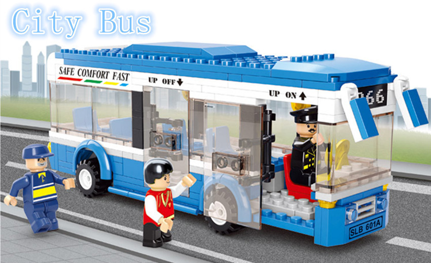 Free Shipping Sluban Building Block Construction Toys City Bus school bus Racing Children's Toy Child Birthday Gift Compatible(China (Mainland))