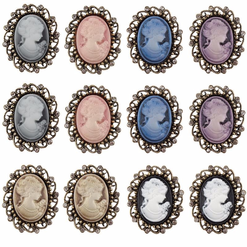 FREE DHL/UPS/E_EMS fast delivery Wholesale Case of 360 pieces vintage gold plated cameo brooches for women