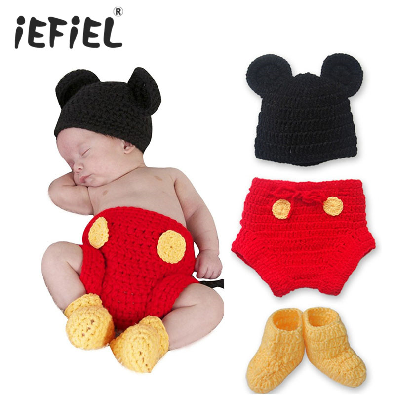 1 Set Unisex Baby Infant Crochet Mickey Mouse Crochet Baby Hat, Diaper Cover, Boots Photo Prop Cap Christmas Outfit Girls Boys(China (Mainland))