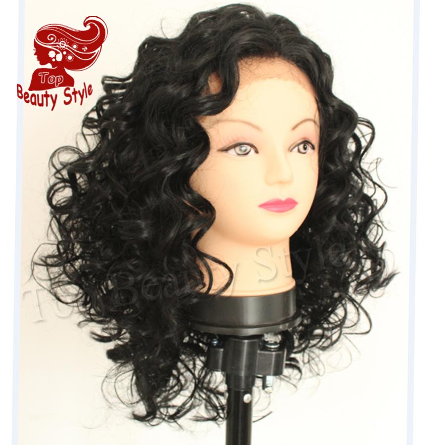 2016 Top Selling Black Color 10-16inch Объемная волна Hair Термоустойчивый Weave синтетический Lace Front Wigs Bob парик for Women
