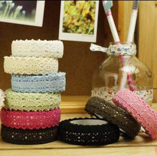 1pcs/lot Fabric double Lace Tape DIY Multifunction Simple Tape Knitted lace cloth decoration Adhesive Tape Stationery(China (Mainland))