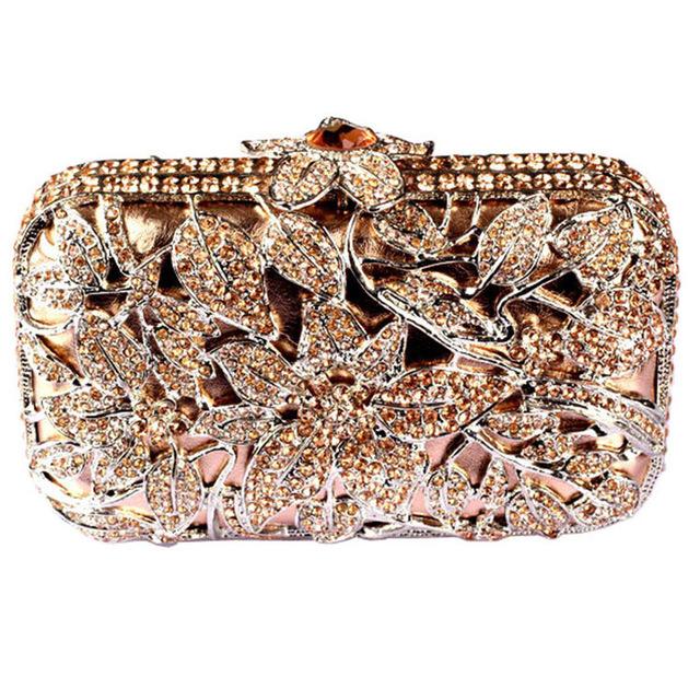 Fashion Luxury Bags Flower Box Crystal Clutch Rose Gold Designer Clutch Bag Evening Purse Rhinestone Handbag for Women Free Ship(China (Mainland))