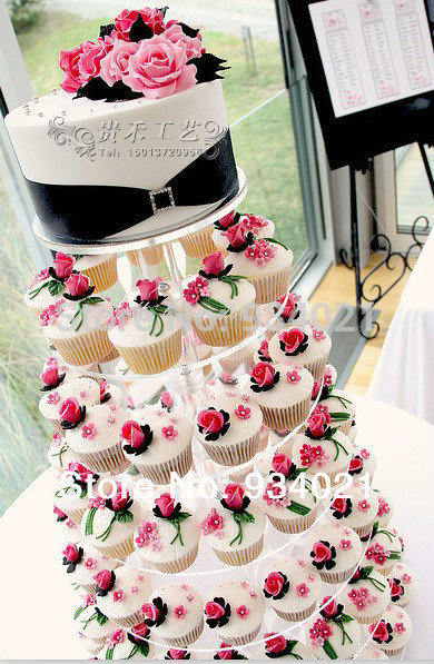 7 tier acrylic wedding cake stand clear round cupcake stand plexiglass cake display rack(China (Mainland))