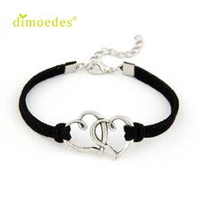 Hot marking  1PC Women Love Heart Handmade Alloy Rope Charm Jewelry Weave Bracelet Gift M30(China (Mainland))