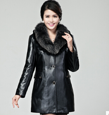 The new winter 2015 Haining female sheep skin leather leather female Mr. Fox mink fox collars lined with Nick size: M-3XL(China (Mainland))