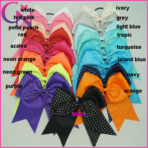 8 Inch Large Rhinestones Cheer Bows Handmade Rhinestones Ribbon Cheer Bow With Elastic Band For Girls 20pcs/lot CNHB-1408184(China (Mainland))