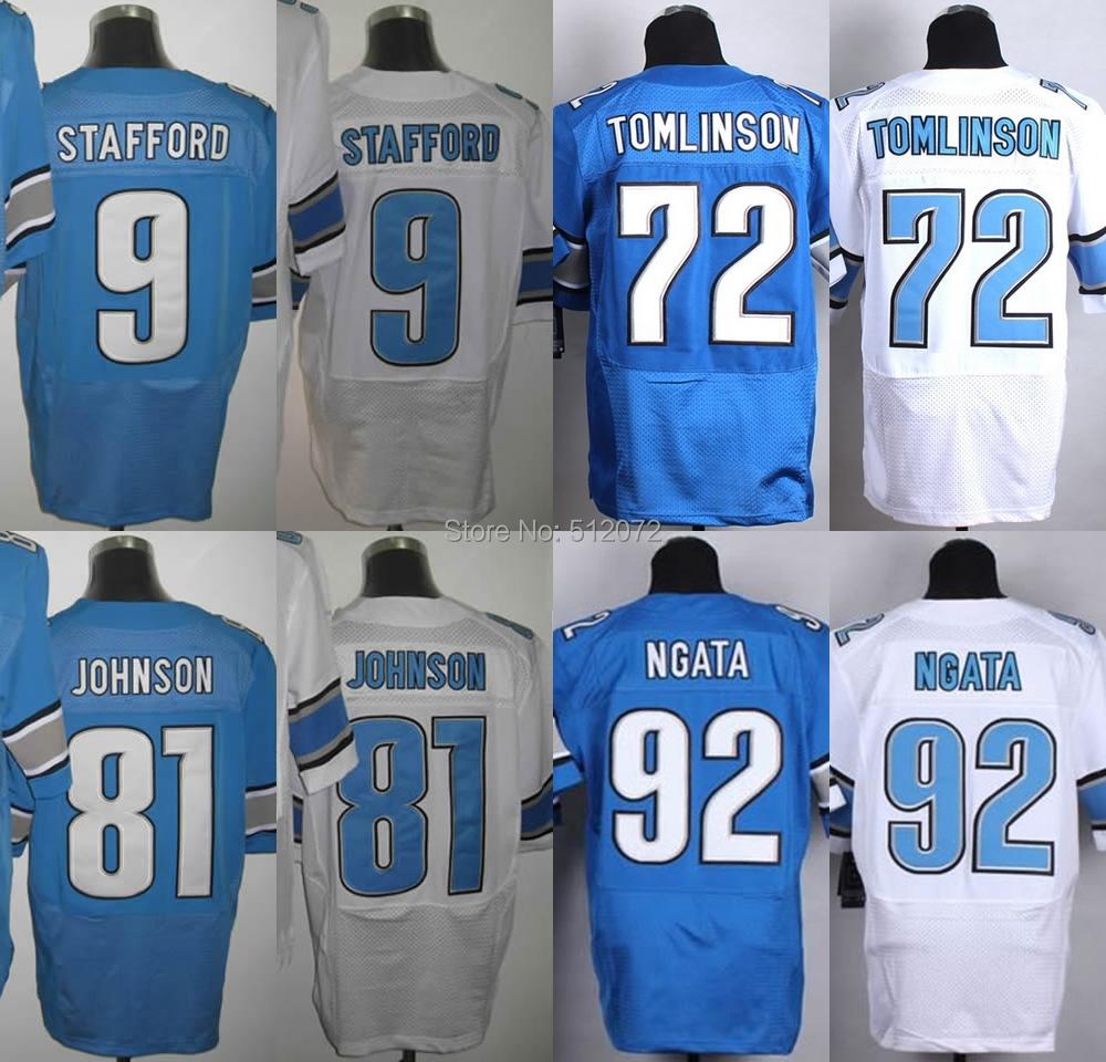 Detroit Men's Authentic Elite #9 Matthew Stafford #72 Laken Tomlinson #81 Calvin Johnson #92 Haloti Ngata Football Jersey(China (Mainland))