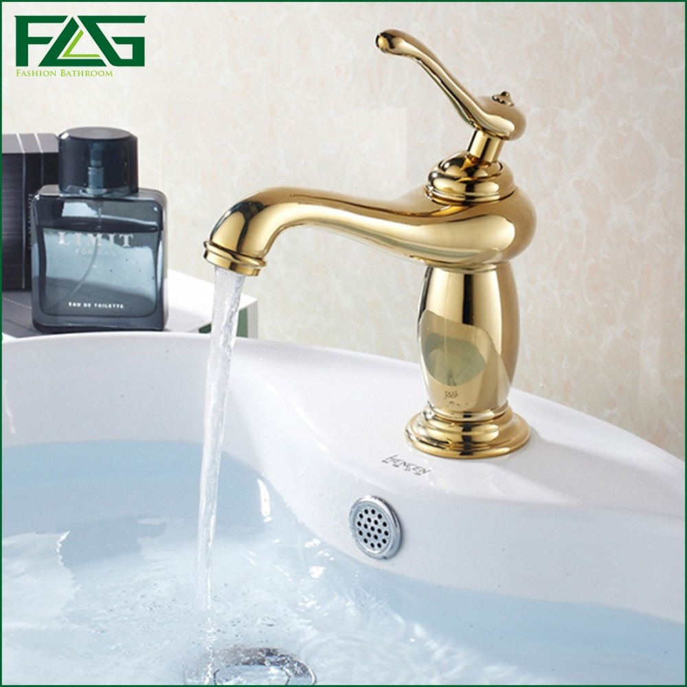 FLG Piece Basin Faucet Golden Plate Polish Single Lever Cold&Hot Deck Mounted Rubinetteria Valve Pool Sink&Crock Mixer Tap M121X(China (Mainland))