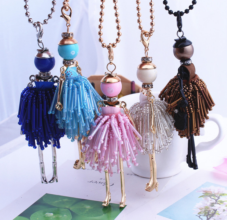 2016 Fashion Jewelry ! Doll Necklace Pendants Charms Free Shipping Women Accessories Female Crystal Beads DIy handmade Jewelry(China (Mainland))