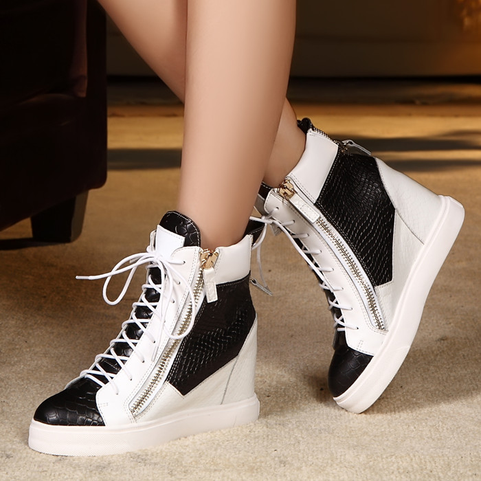 2014 High Top Shoes Casual Elevator Women Genuine Leather Heel Wedge Sneakers Platform - Shanghai Sharon Fashion Store store