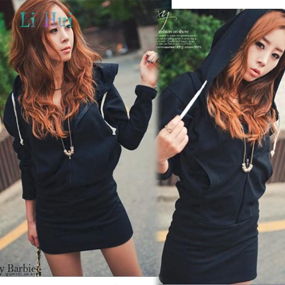Women Lady Wings Printed Behind Long Hooded Zipped Hoodie Coat Sweatshirt hoody dress drop shipping 12(China (Mainland))