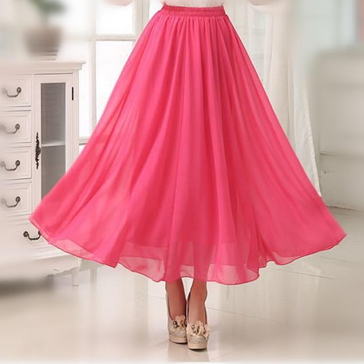 Aliexpress.com  Buy New fashion chiffon skirts women casual high waist summer long skirt Beach ...