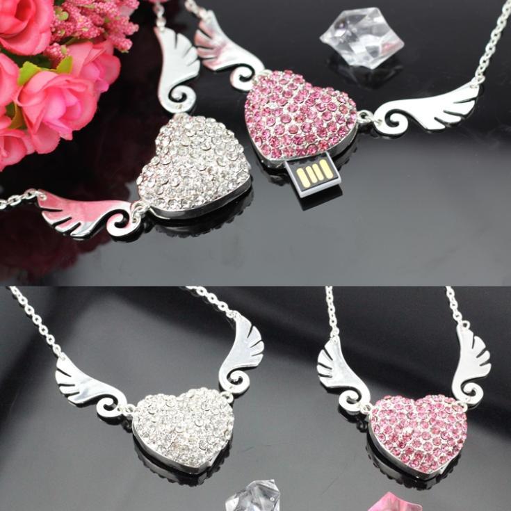 Angel Heart Jewelry Memoria USB Flash Drive 64GB USB 2.0 Pen Drive 2TB 1TB Mini Usb Memory Stick Pendrive 8GB 16GB 32GB Gift(China (Mainland))