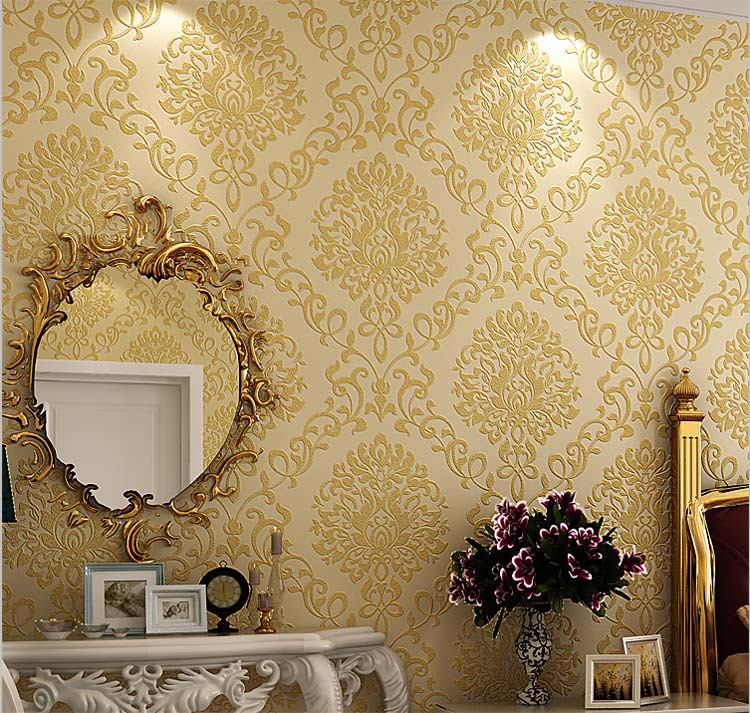 European Vintage Luxury Damask Embossed Textured Non Woven Wallpaper Roll Home Decor For Living