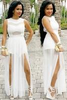 белые длинные платья носить летом разделить платье с кружевами, экзотические o шеи без рукавов слово длины линии женской одежды
