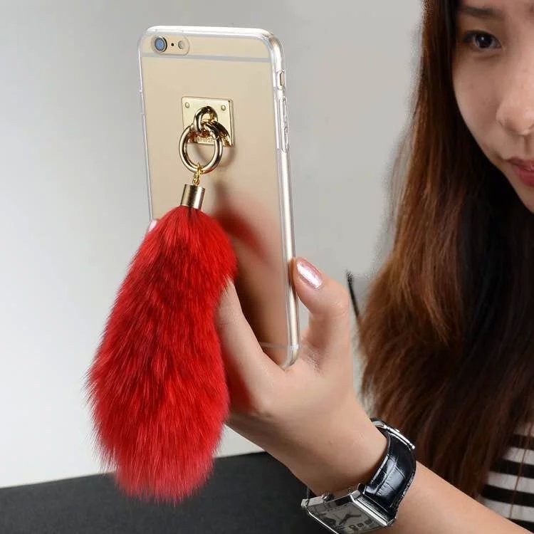 Tassel Fringe Metal Sticker Transparent Soft Fox Tail Fur Hair TPU Case Cover for iPhone 6 6s 6plus 6splus(China (Mainland))