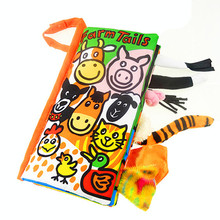 Best gift to your child Suitable age:3~12 Month Animal Tails Cloth book Education Unfolding Activity Books(China (Mainland))