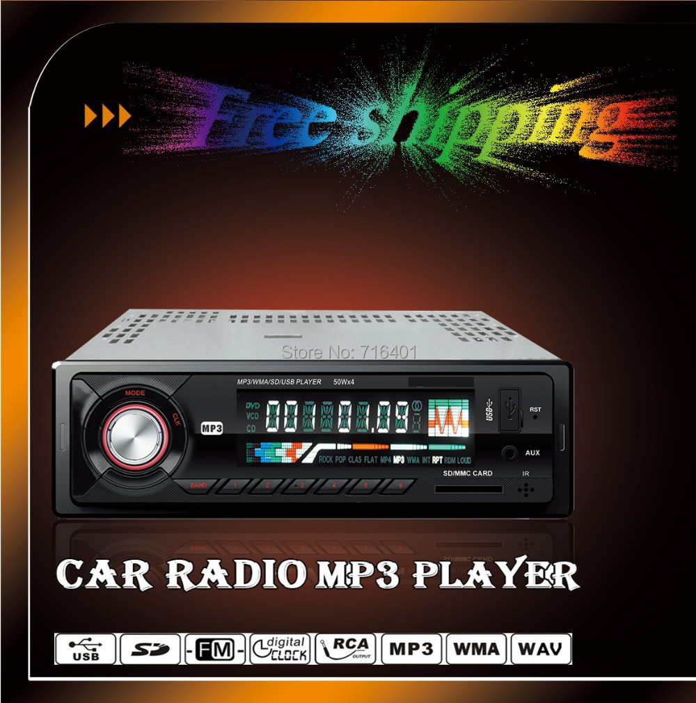 Free shipping!!!car MP3 player Stereo Audio Radio 1 Din fm transmitter In-Dash With USB SD Input AUX in 3.5mm(China (Mainland))