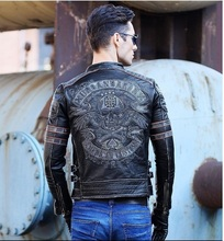 DHL Free shipping.Brand clothing men skull leather Jacketsmen's top genuine Leather biker jacket.motorcycle homme Fitness(China (Mainland))
