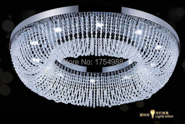 DHL Free shipping luxury round led crystal ceiling Lamp modern hotel crystal light with remote control stainess steel light(China (Mainland))