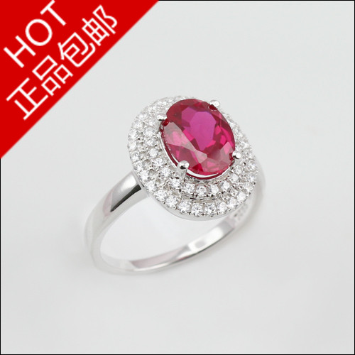 Created Ruby corundum ring 925 Sterling silver Rhodium pigeon eggs oval shape diamond vintage Women