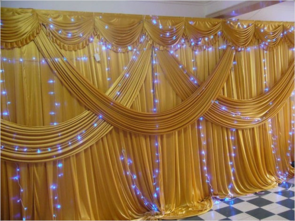 Gold stage wedding backdrops for wedding decoration in for Background curtain decoration