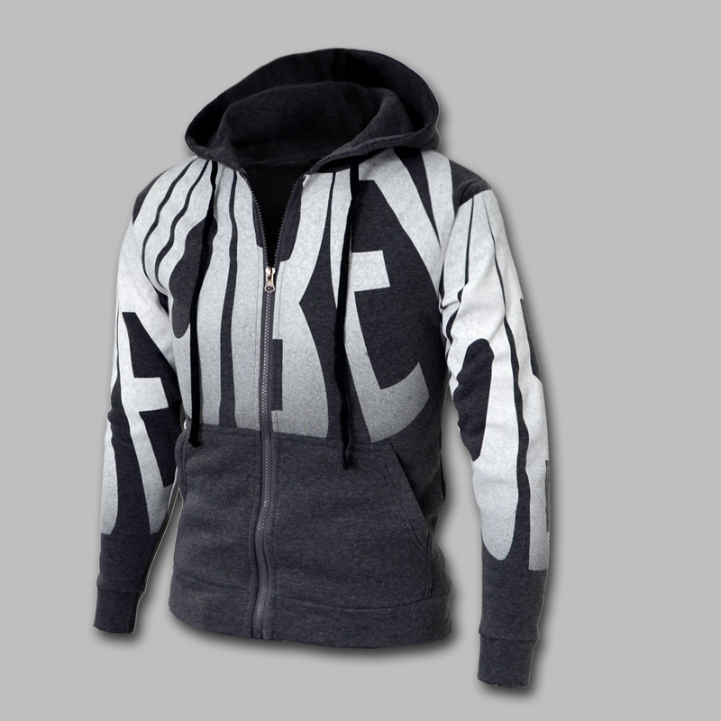 2014 Autumn & Spring Fashion Zipper Sports Casual Hoodies & Sweatshrit Plus Size M-4XL 4 Colors Letter Print  Slim Fit Hoodies