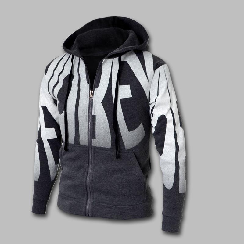 2014 Autumn & Spring Fashion Zipper Sports Casual Hoodies & Sweatshrit Plus Size M-4XL 4 Colors Letter Print Slim Fit Hoodies(China (Mainland))