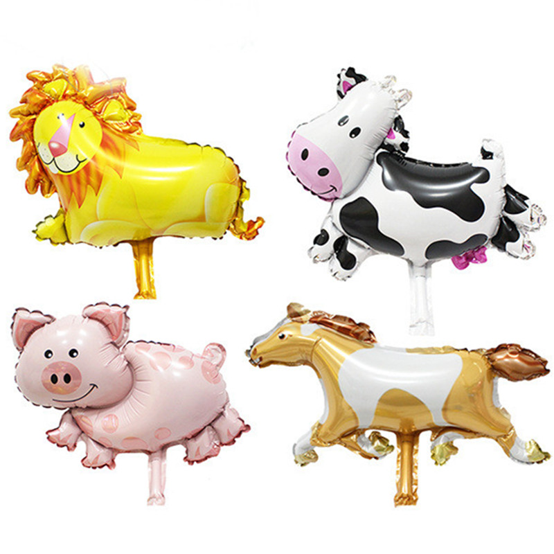 4pcs Mini Lion Cow Pig Horse Animal Helium Foil Balloons Birthday Party Decoraion Balloons Animal theme Party Supplier Toys(China (Mainland))
