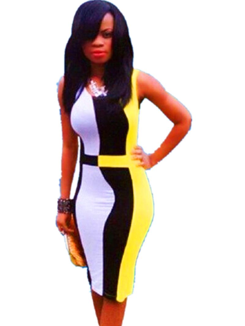 women clothing 2015 lady's sexy summer plus size Yellow black white patchwork party bandage club bodycon dress bodysuit dresses(China (Mainland))