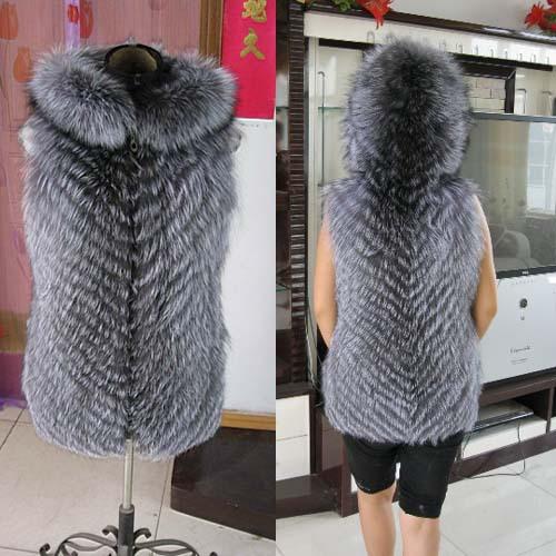 Genuine Real Fur Silver Fox Fur Vest Waistcoat Coat Women Winter With Hood Natural Fox Fur Coats Jacket BF-V0059(China (Mainland))