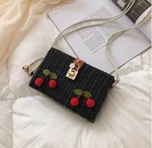 Jerami Fashion Gesper Cherry Dekorasi Desain Kotak Wanita Flap Tas Bahu Tas Selempang Mini Tas Clutch Bag untuk Wanita Bolsa(China)