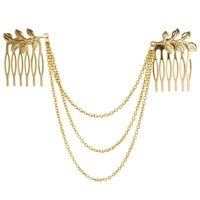 2015 Fashion Women's Hair Accessories Gold Plated Leaf Hair Comb Tassel Cuff Headpiece Hair Chain Wholesale(China (Mainland))