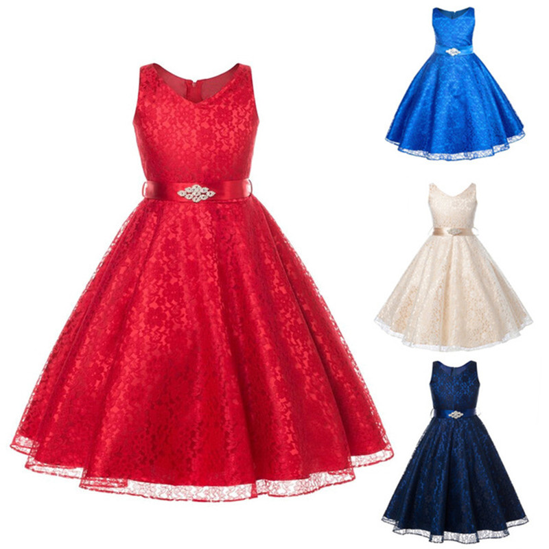 Girls Party Wear Lace Dress For Kids Solid Embroidery High Quality Lace Teenagers Dress Elegant Ceremonies Wedding 6-14 Year(China (Mainland))