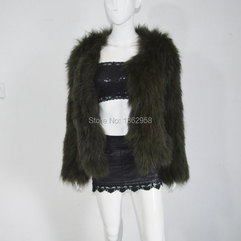 SJ484 America Boutique Best Selling Women Raccoon Knitting Jackets Real Fur Women Outer Wear Spring(China (Mainland))