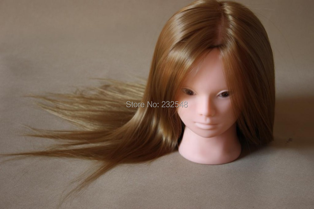Free shipping High Temperature Chemical Fiber and Real Human Hair Professional Hairdressing Mannequin Head Practice Model(China (Mainland))