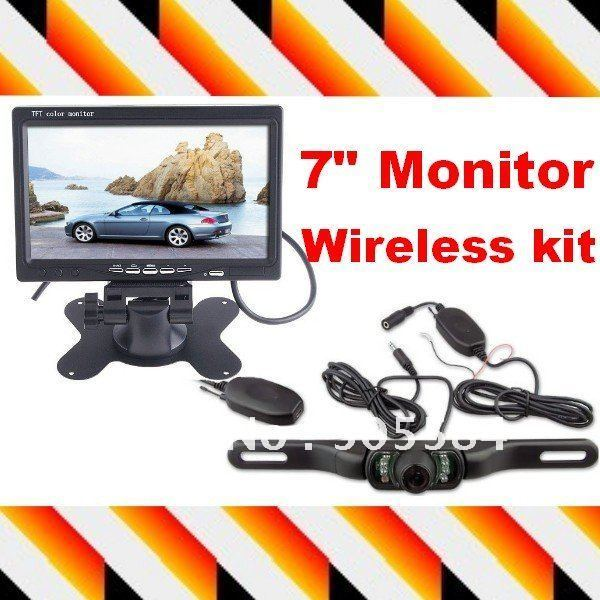 """7"""" Dashboard Backup Color TFT LCD Car Monitor Rearview + Night vision wireless car reverse camera Transmitter & Receiver kit"""