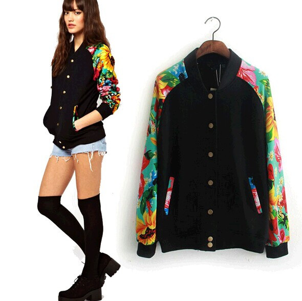 2015 Sweatshirt Sport Suit Женщины Модный Рукав Floral Printed Baseball Jersey Jackets ...