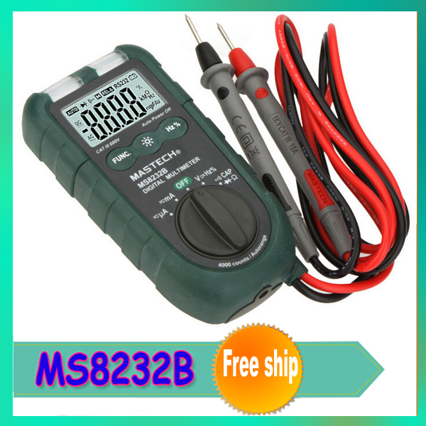 MASTECH MS8232B Mini Auto Range Digital Multimeter 4000 counts DMM Frequency Capacitance Meter w/Flash Light & Duty Cycle Tester(China (Mainland))