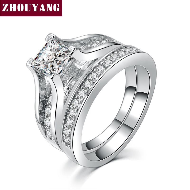 white gold plated 0 5ct aaa cz studded rings fashion