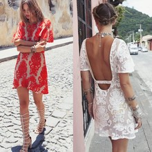 2014 Women Dress Party Evening Elegant Short Sleeve Lace Crochet Embroidered Backless Dress 30(China (Mainland))