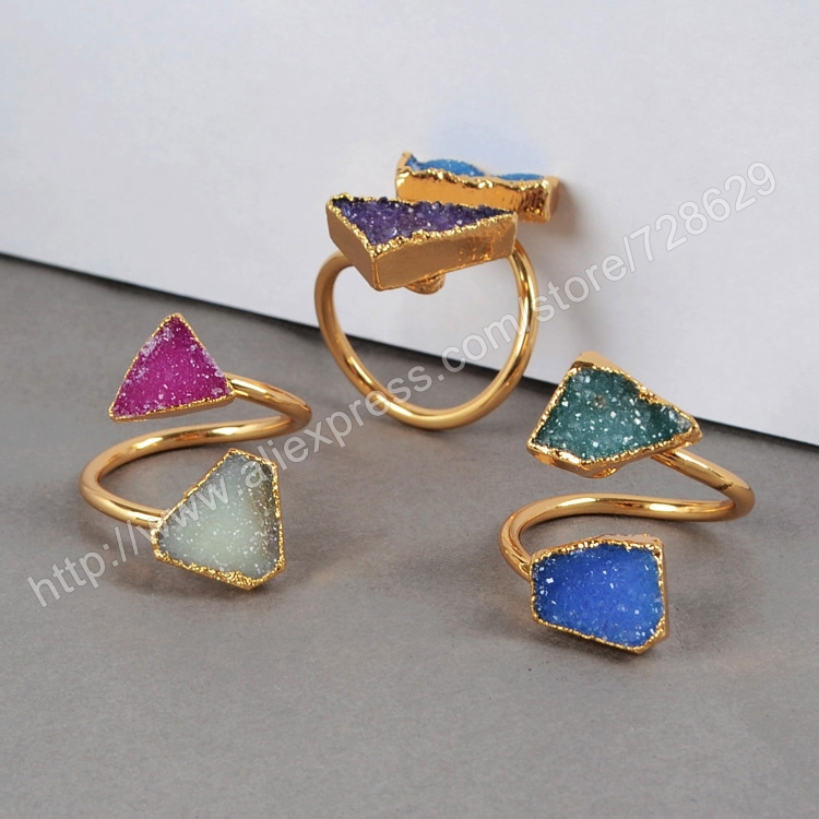 Fashion Wedding rings for women Two Small Druzy Ring Natural Agate Druzy Geode Ring Gold Adjustable Rings Drusy Fine Jewelry(China (Mainland))