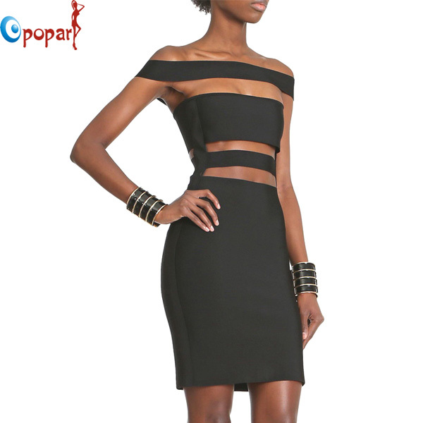 2016 Women summer off the shoulder slash neck busty cut out sexy rayon celebrity bandage dress short mini club party dress HL454(China (Mainland))