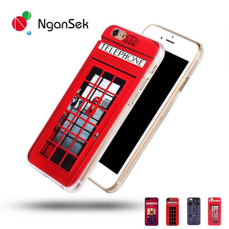 NganSek London Old Fashion Telephone Booth iPhone SE 4s 5s 6 6s Plus Hard Phone Case Sherlock Holmes Door 221B Back cover - Top Star Factory store