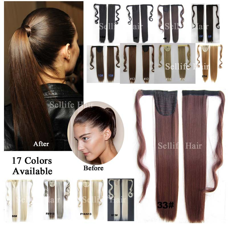 Hair Piece 24inch 60cm 100g Straight Ponytails Magic Ponytails Pop Fashion Girl LADY Clip On Hair Extension Euro Blond Color(China (Mainland))