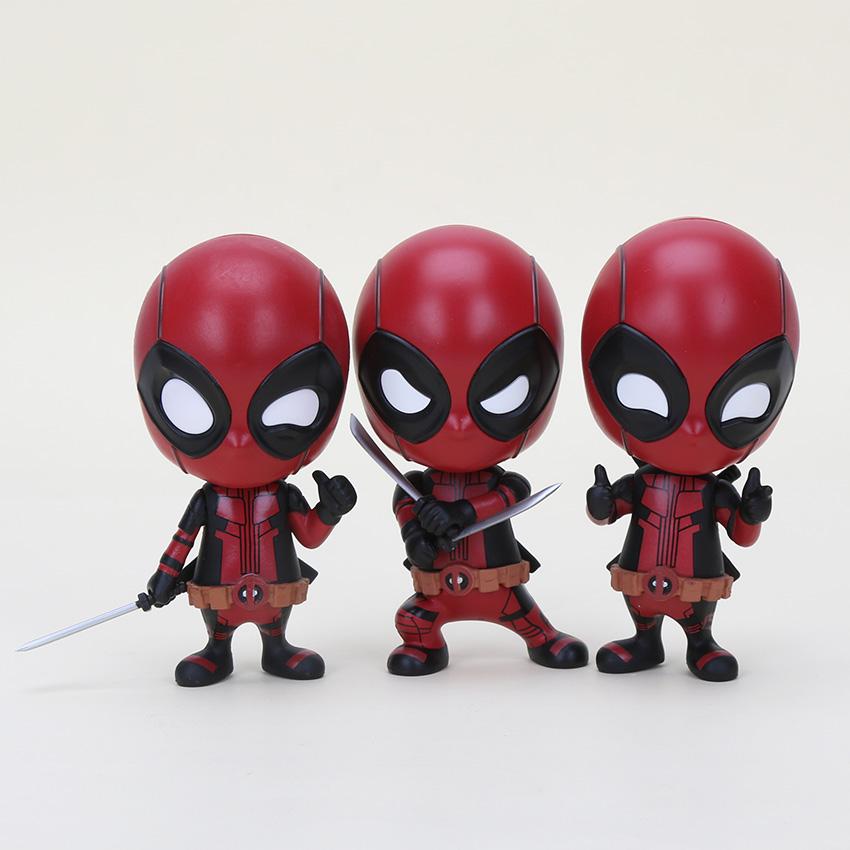 10cm 3pcs/lot Deadpool Funko Pop Bobble-Head Shake Head Doll PVC Action Figure Model Toy Collections